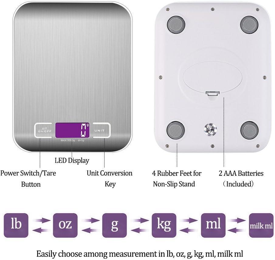 Scala con Multi-funzioni Elevata precisione di 1 g per 5000 g con Diverse unit/à: g//lb//oz//ml. Bilancia Digitale WeGo bilance da Cucina Digitale