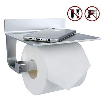 Porte Papier Toilette Mural Sans Percage Zindoo Rouleau Porte Papier Wc Avec Etagère Blanc Aluminum Toilette Porte Papier Pour Salle De Bain