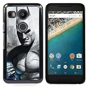 "Qstar Arte & diseño plástico duro Fundas Cover Cubre Hard Case Cover para LG GOOGLE NEXUS 5X H790 (B & W Oscuro Murciélago Superhero"")"