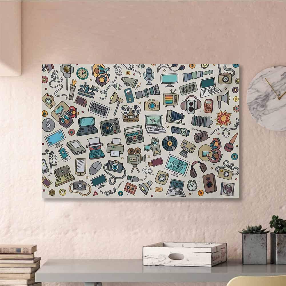 Tankcsard Artwork Office Home Decoration Doodle,Complation of Various Office Gadgets Recorder Tv Laptop Monitor Tablet Switch Mouse,Multicolor 48x32 for Living Room Bedroom