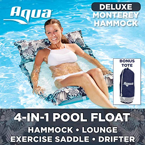 Aqua Deluxe Monterey Hammock, 4-in1- Multi-Purpose Inflatable Pool Float, Portable, Removable Pillows, Carry Bag, Premium Fabric, Fade, & Stain Resistant, Antigua Blue ()
