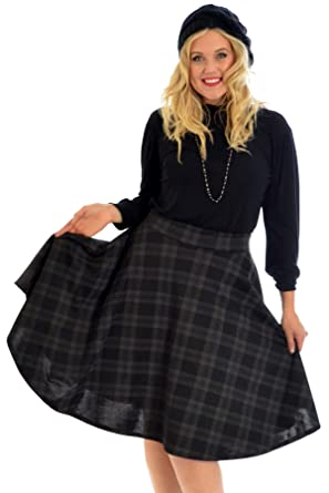 be077519425 Nouvelle Collection New Ladies Tartan Plus Size Skater Skirt Womens  Scottish Check Midi Skirt  Amazon.co.uk  Clothing