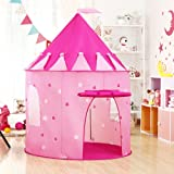 Wilwolfer Princess Castle Play Tent with Glow-in-the-Dark Stars Foldable Pop Up Kids Play Tents House Toy for Indoor and Outdoor Games (Pink)