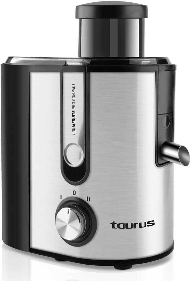 Taurus 924.722 Liquafruits Pro Compact-Licuadora (500 W, 2 velocidades, Sistema antigoteo, Filtro Extraible de Acero Inoxidable), Negro y Gris, 1 Liter, 0 Decibelios