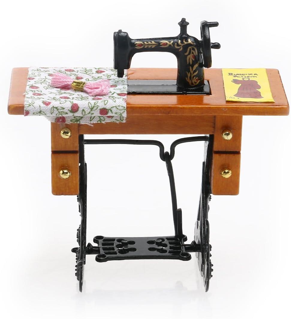 LIOOBO Máquina de Coser Vintage 1/12 en Miniatura Decorativa con ...