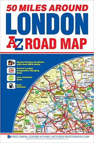 Full Map Of London.50 Miles Around London Road Map A Z Howard Hughes 9781782571087