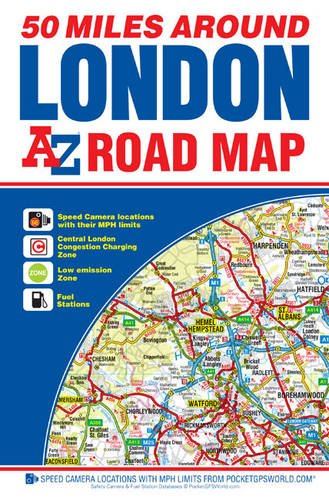 Map Around London.A Z 50 Miles Around London Road Map Amazon Co Uk Geographers A Z
