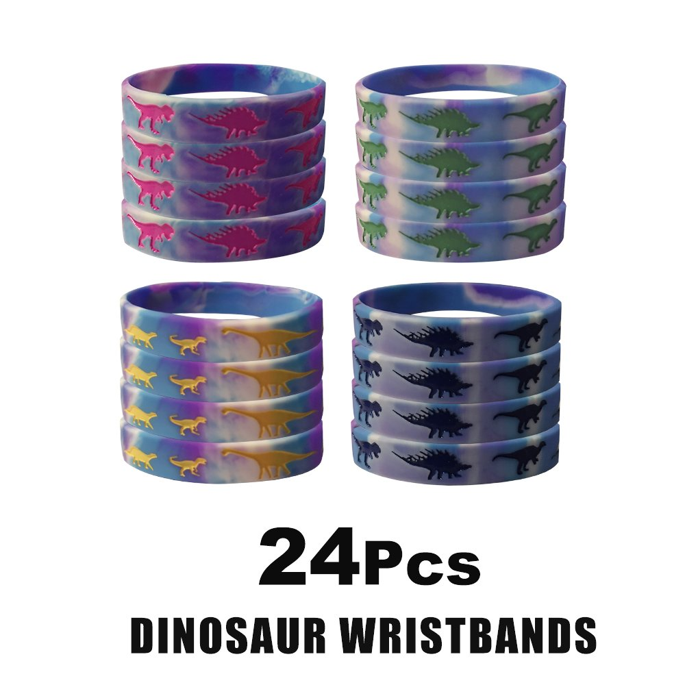 24 Pack Dinosaur Silicone Wristbands Bracelets,Birthday Party Favors for Kids,Goody Bag Supplies for Boys and Girls, Dinosaur Party Supplies,Novelty Rubber Wristband