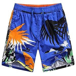 Kaxima Pantalones de playa de verano hombres sueltos pantalones cortos de secado rápido de la impresión de viaje pantalones cinco-ciento de vacaciones