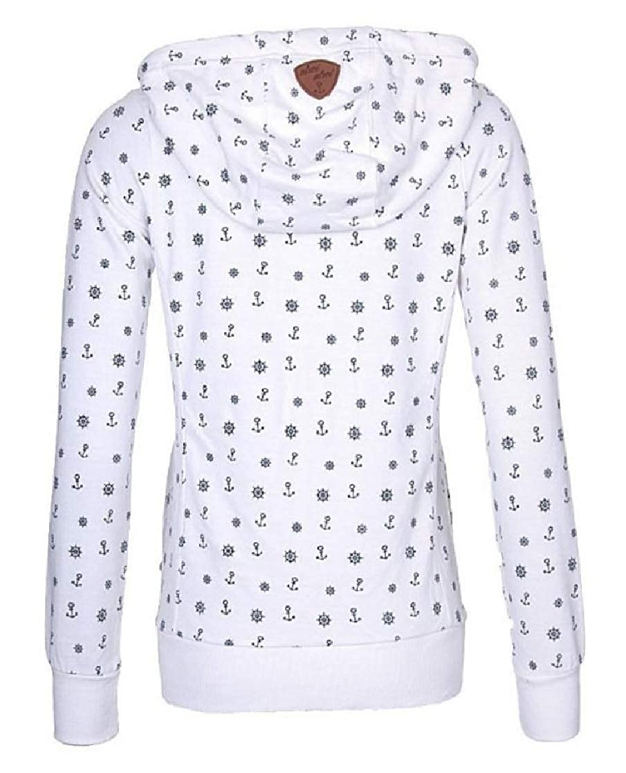 YUNY Womens Velvet Oversize Hoode Pocket Zip-Up Print Sweatshirts Outwear White XS
