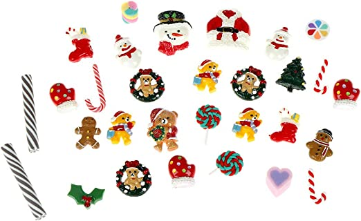 50 Pcs Mix Christmas Tree Snow Resin Flatback Button Art Album Flatback Embellishments DIY Decoration Scrapbooking Craft Christmas Slices Resin Slime Charms Cute Assorted Set