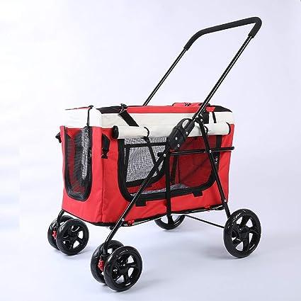 Amazon.com: Cochecito de mascotas plegable de cuatro ruedas ...