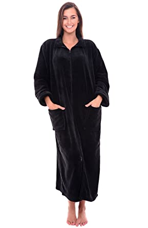 e9a9951ffa Alexander Del Rossa Womens Relaxed Fit Zip-Front Fleece Robe