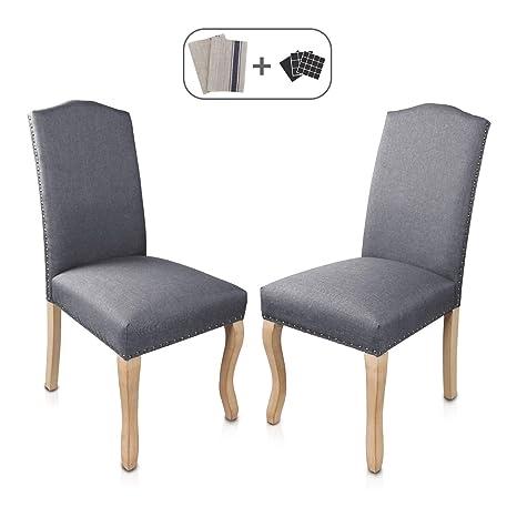 Amazon.com: Juego de 2 sillas de comedor tapizadas con patas ...
