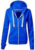 Femmes Couleur Unie capuche sweatshirt fermeture éclair capuche grande taille (UK 8-22) - Femmes, Bleu Roi, Medium