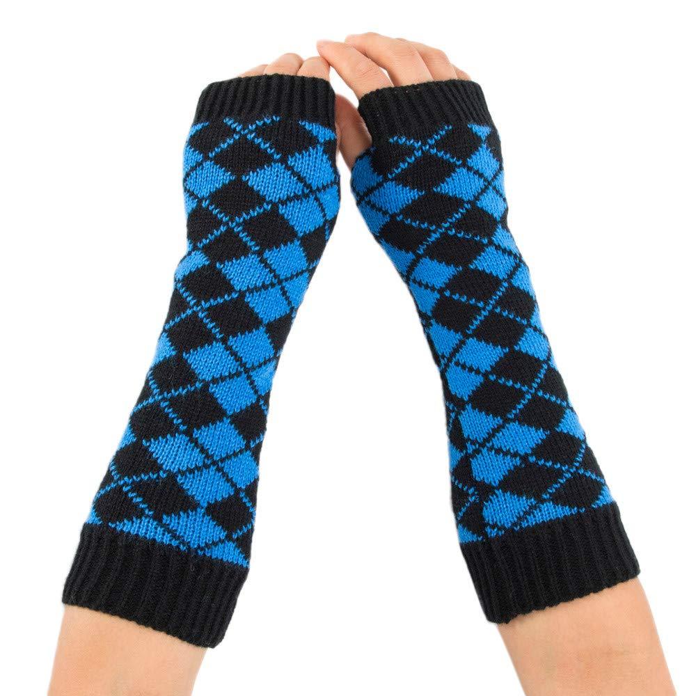MaxFox Women's Winter Knitting Wool Arm Warmer Rhombus Print Protect Wrist Fingerless Gloves Mitten for Exercise Riding (Blue)