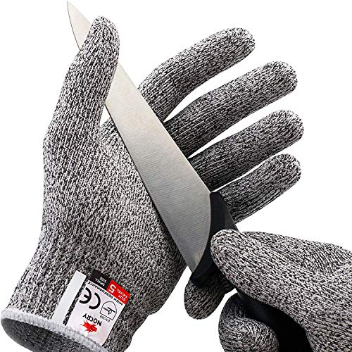 NoCry Cut Resistant Gloves – Ambidextrous, Food Grade, High Performance Level 5 Protection. Size Large, Complimentary Ebook Included