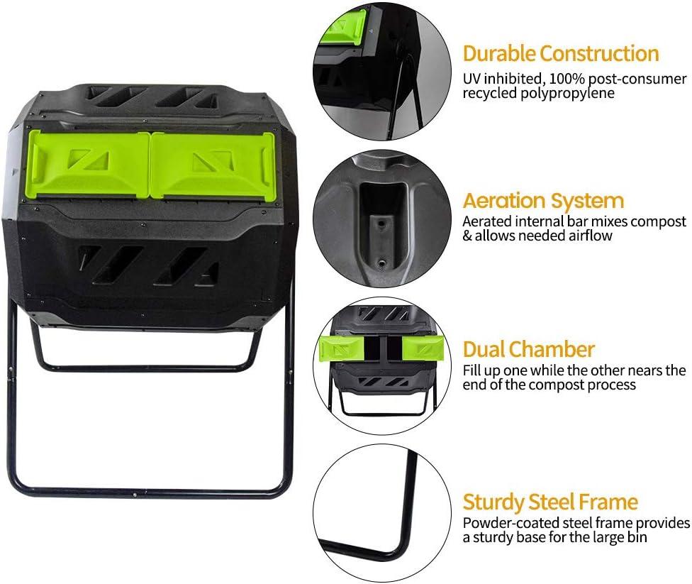 Amazon.com: Contenedor de compostaje EJWOX, cubeta de abono ...