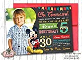 10 Mickey Mouse Clubhouse INVITATIONS Happy Birthday Colorful Gray ANY AGE Boy Birthday Party Invitations