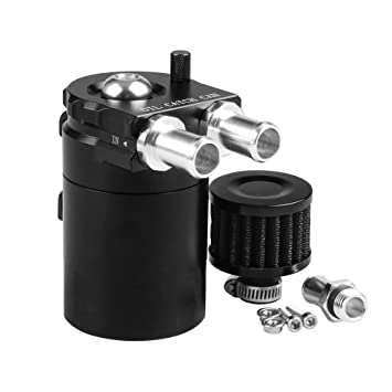 Amazon.com: Ruien Polish Baffled Universal Aluminum Oil Catch Can Reservoir Tank with Breather Filter & Adapter for BMW: Automotive