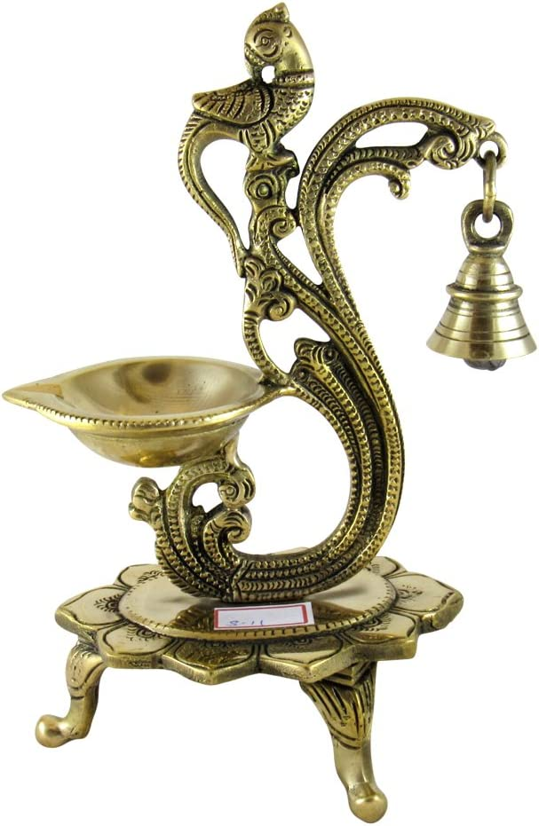 GoldGiftIdeas Decorative Brass Peacock Diya with Bell, Pooja Article for Home, Indian Deepak for Pooja Room, Home Decor Item, Housewarming Gift