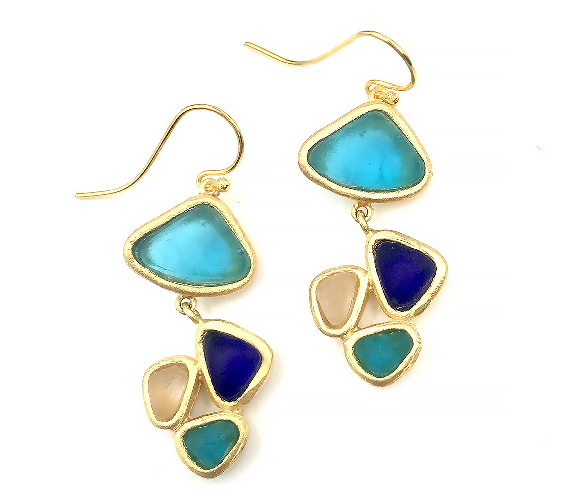 Michael Vincent Michaud Glass Pebbles Earrings #1056M5 by Michael Vincent Michaud