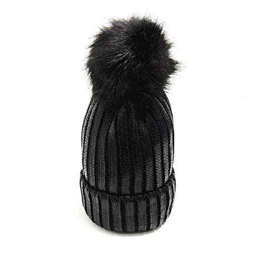 60da960977fb95 Image Unavailable. Image not available for. Color: XWDA Womens Warm Winter  Sequins Cap Knitted Beanie Hat Soft Inside Faux Fur Pompom