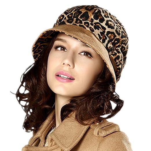 9abe4e26f516f Kenmont Winter Autumn Women Lady Girl Trendy Leopard Beret Cap Visor Hat  Coffee