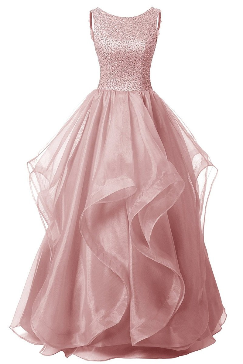 JudyBridal Women's Prom Dress Organza Beads Asymmetrical Long Party Evening Gown US8 Blushing Pink