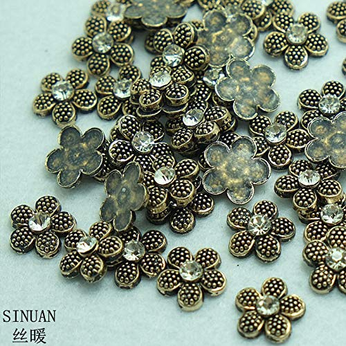 Garment Rivet - Metal Spikes for Shoes Hot-Fix Rivet Flower Diamond Rivet 10Mm Spikes for Clothes Painted Studs Craft Beads for Clothes - (Color: Antique Brass)