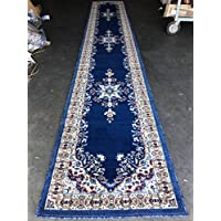 Traditional Persian Area Rug Dark Navy Blue Design 510 (31 inch X 15 feet 8 inch)