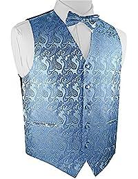 Men's Paisley Dress Vest Bow Tie Set for Suit or Tuxedo