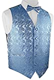Brand Q Men's Paisley Vest Bow Tie Set-Light Blue-S