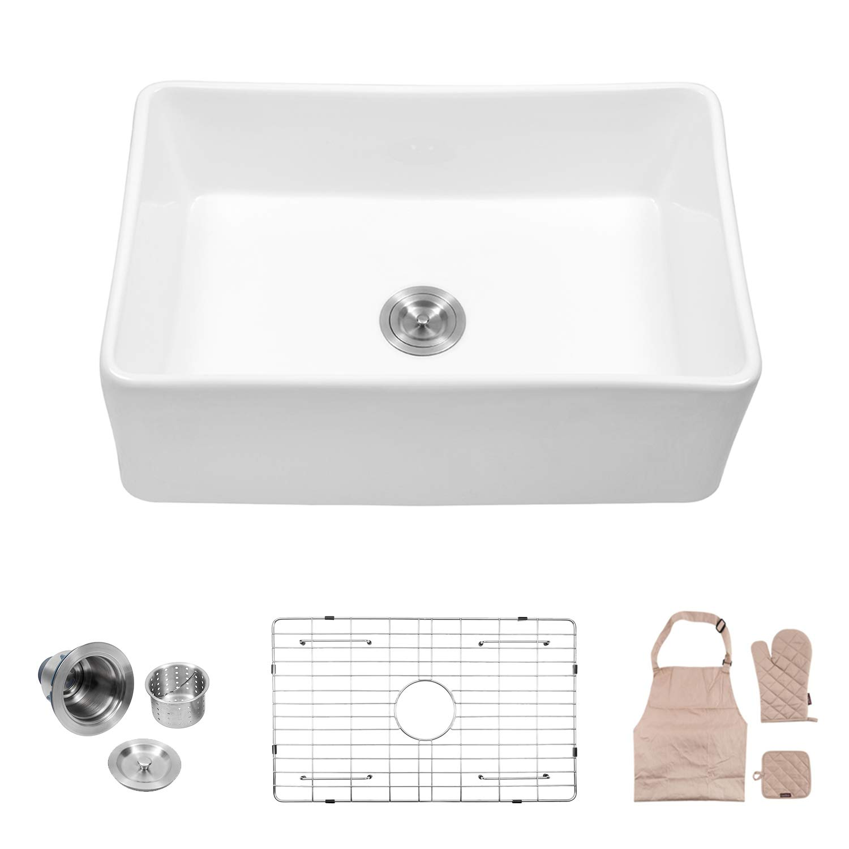 Lordear 30'' Single Bowl Farmhouse, White Porcelain Ceramic Apron-Front Fireclay Single Bowl Kitchen Sink