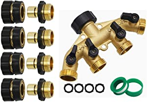 "Twinkle Star 3/4 Inch Garden Hose Fitting Quick Connector Set, 4 Set | 4 Way Heavy Duty Brass Garden Hose Splitter, Hose Connector 3/4"", Hose Spigot Adapter with 4 Valves"