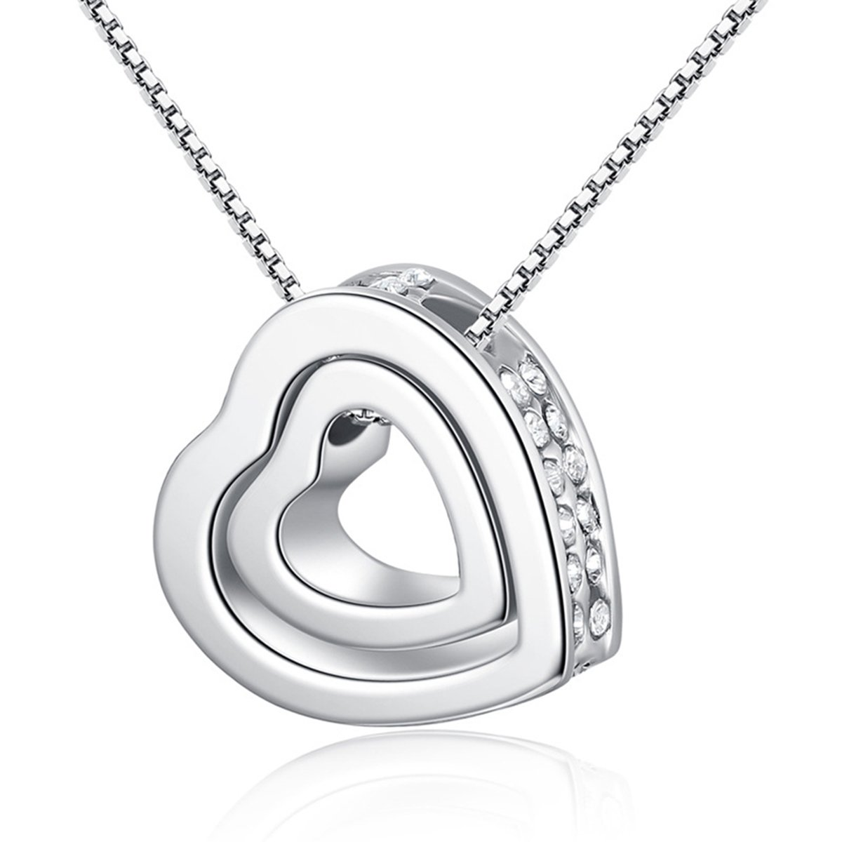 Double Love Heart Pendant Necklace Made with SWAROVSKI Crystal for women