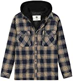 WenVen Men's Thicken Plaid Flannel Quilted Shirts Jacket with Removable Hood Reviews