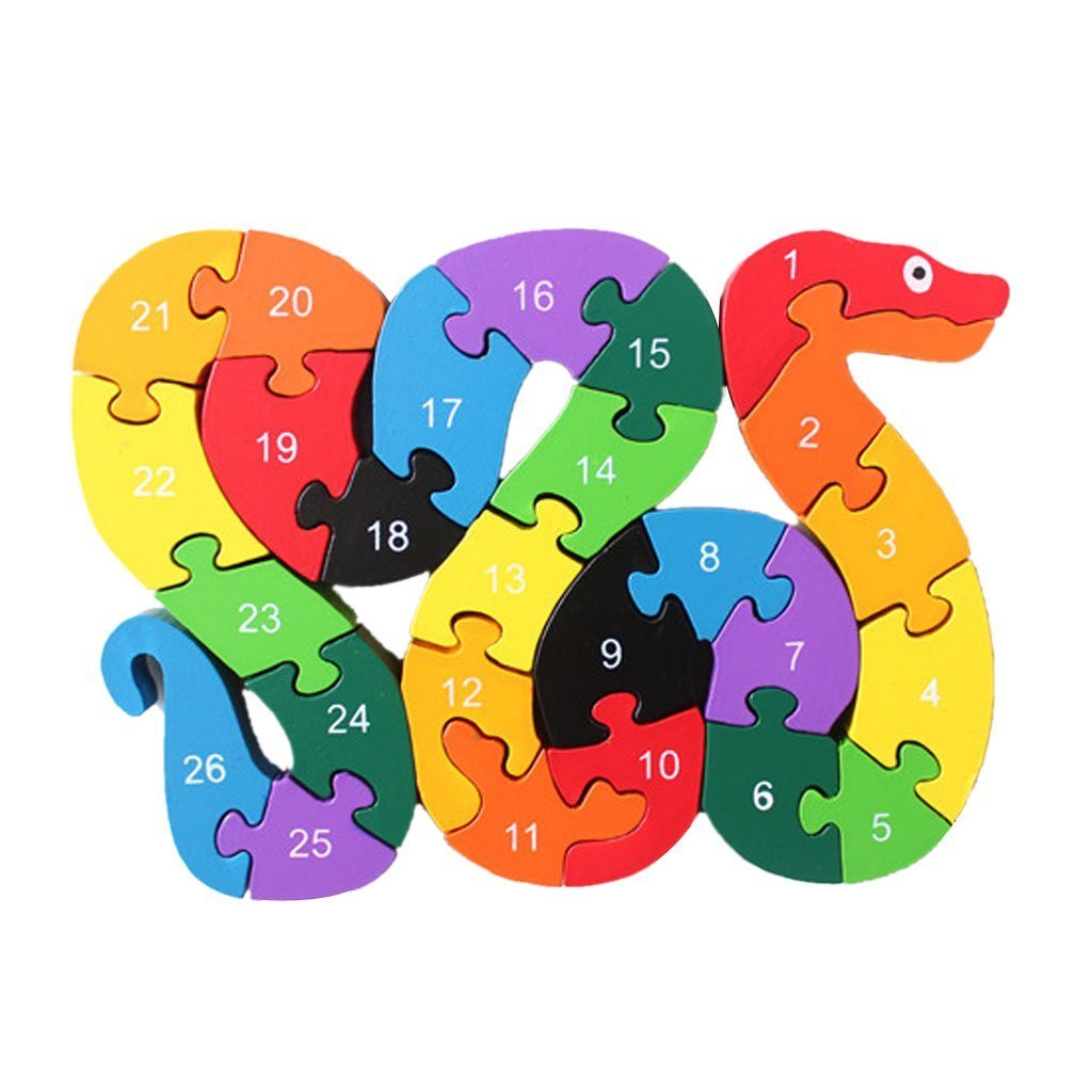 Fishinnen Colorful Wooden Educational Toys Jigsaw Puzzle Alphabet Building Snake Block