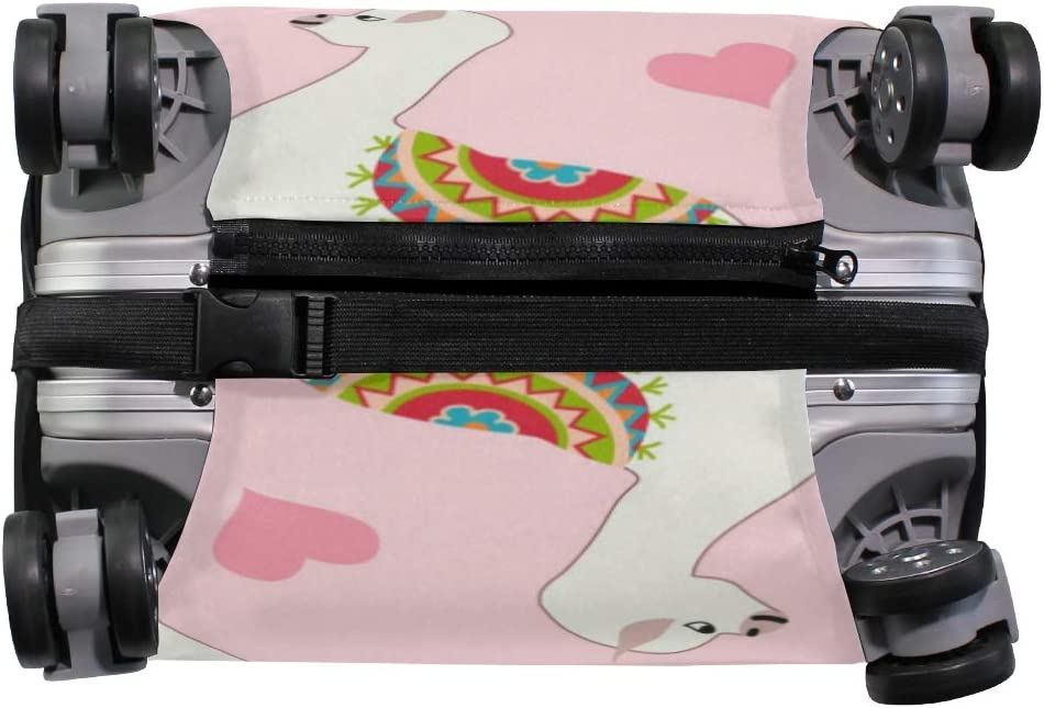 GIOVANIOR Llama Pink Love Luggage Cover Suitcase Protector Carry On Covers