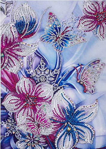 Diamond Painting DIY 5D Special Shape Rhinestones, ABEUTY Red Blue Flowers & Butterfly, Partial Drill Crystal Diamond Art Kits