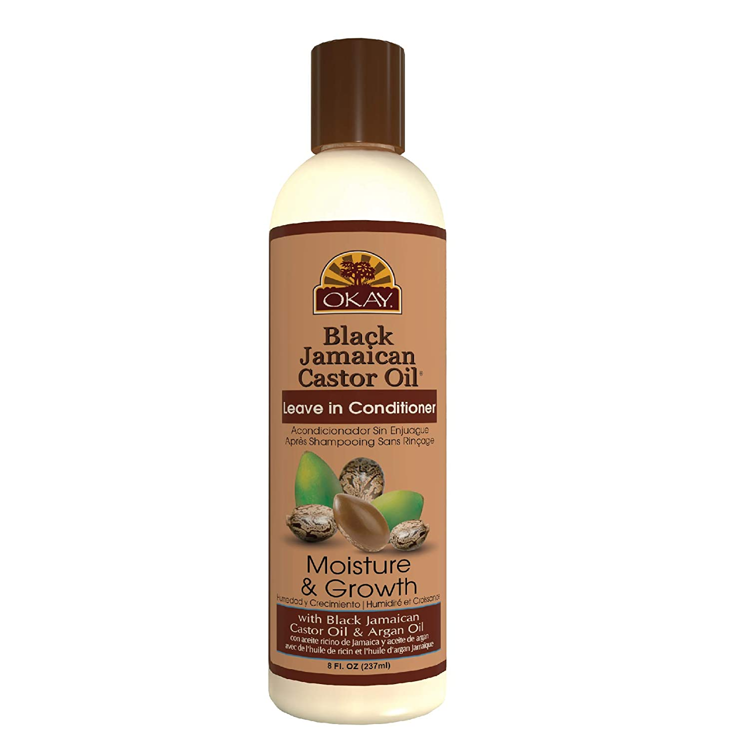 OKAY | Black Jamaican Castor Oil Leave In Conditioner | All Hair Types/Textures | Repair - Moisturize - Grow Healthy Hair | with Argan Oil & Shea Butter | Free Of Parabens, Silicones, Sulfates | 8 Oz