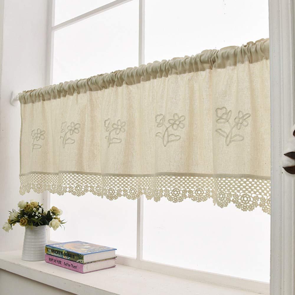 Amazon Zhh Handmade Cotton Linen Kitchen Curtain Flower Pattern