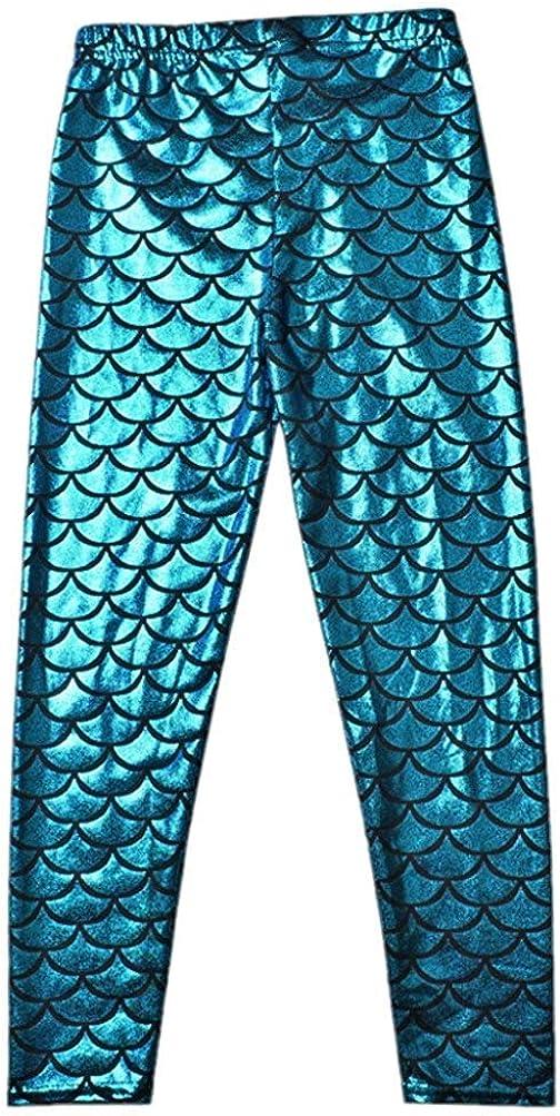 Swetye Toddler Kids Baby Girls Glittery Mermaid Scale Stretch Long Leggings Fish Tight Pants