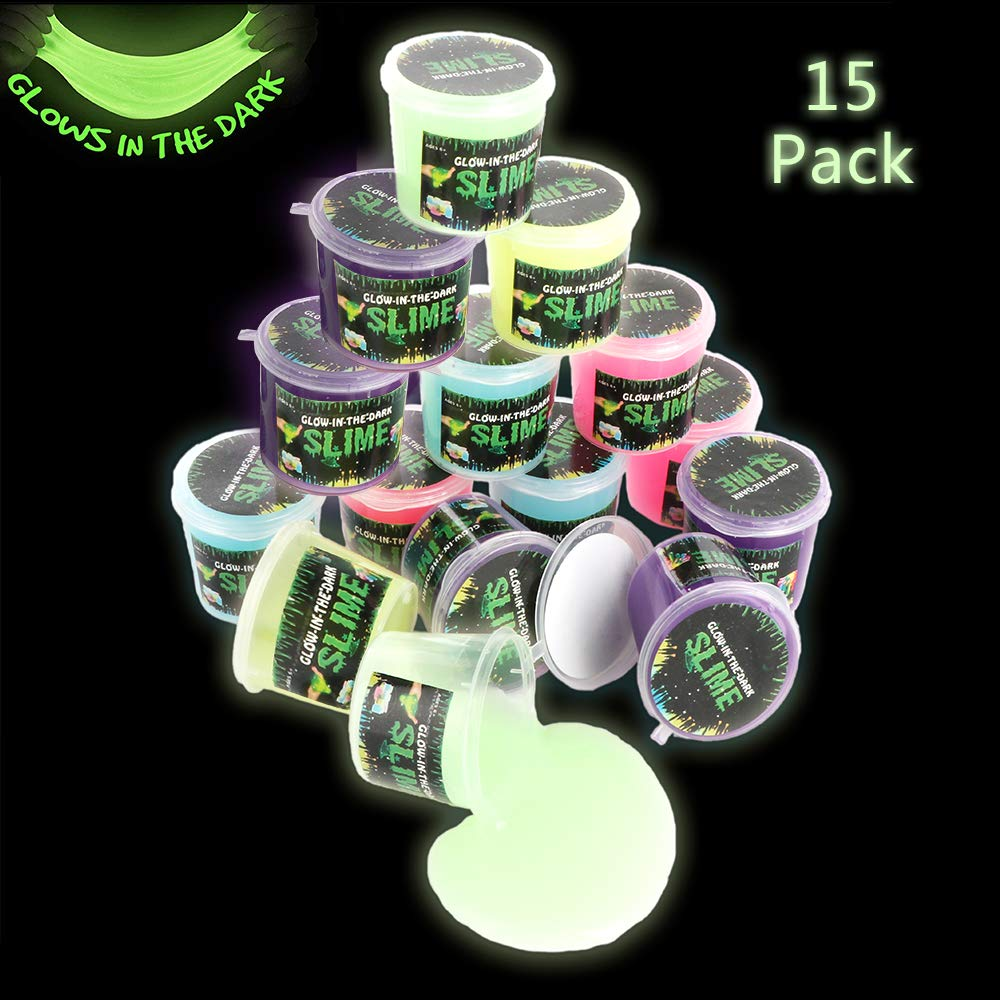 Glow in The Dark Glossy Slime, 15 Pack Neon Colors - Green, Blue, Pink, Yellow and Purple for Kids, Christmas Stocking Stuffers for Girls and Boys