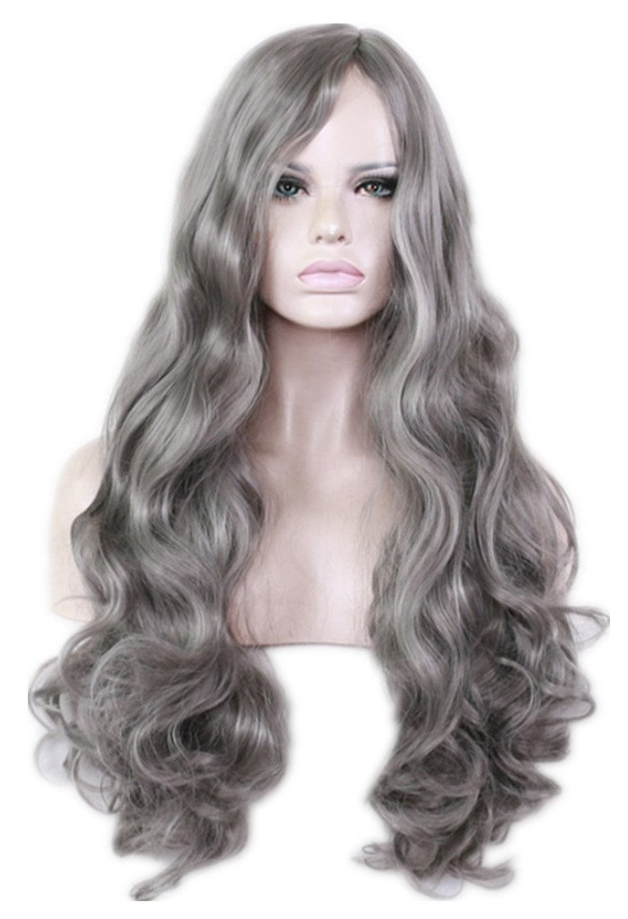 AneShe Women's Grey Wig Long Curly Fluffy Healthy Full Wigs Natural Gray Cosplay Wig Synthetic Hair Wig (Dark Gray)