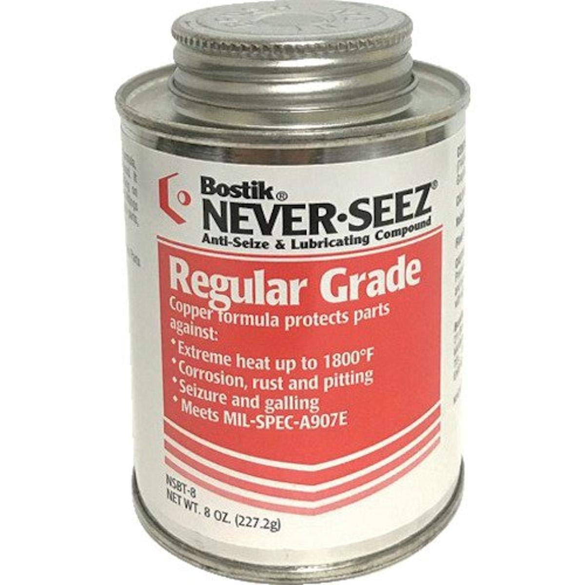 Never-Seez NSBT-8 Silver Gray Regular Grade Anti-Seize Compound, 8 fl. oz. Brush Top Can