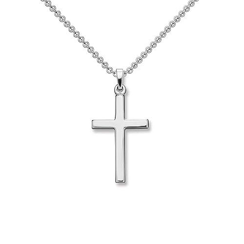 Kreuz Kette Silber 925 Kreuzkette + inkl. Luxusetui + Silberanhänger echt Silber Kreuzkette ohne Stein Kreuzanhänger Anhänger Kommunion Konfirmation Taufkette FF526 SS925
