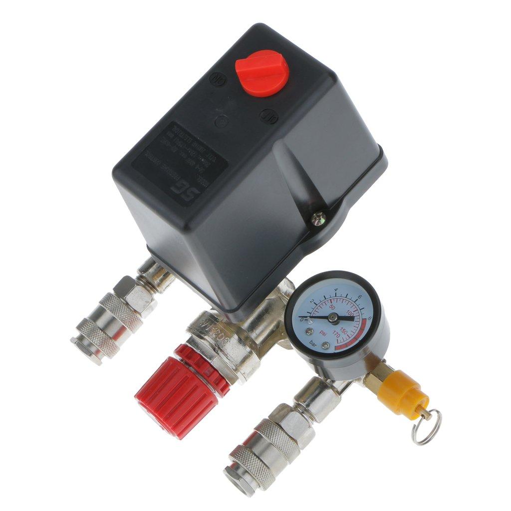 Almencla Regulator Heavy Duty Air Compressor Pump Pressure Control Switch+Valve Gauge