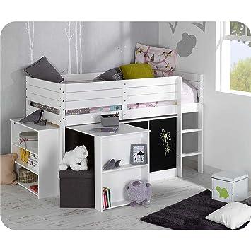 set lit enfant mi hauteur tamis blanc 90x190 cm - Lit Enfant Mi Hauteur
