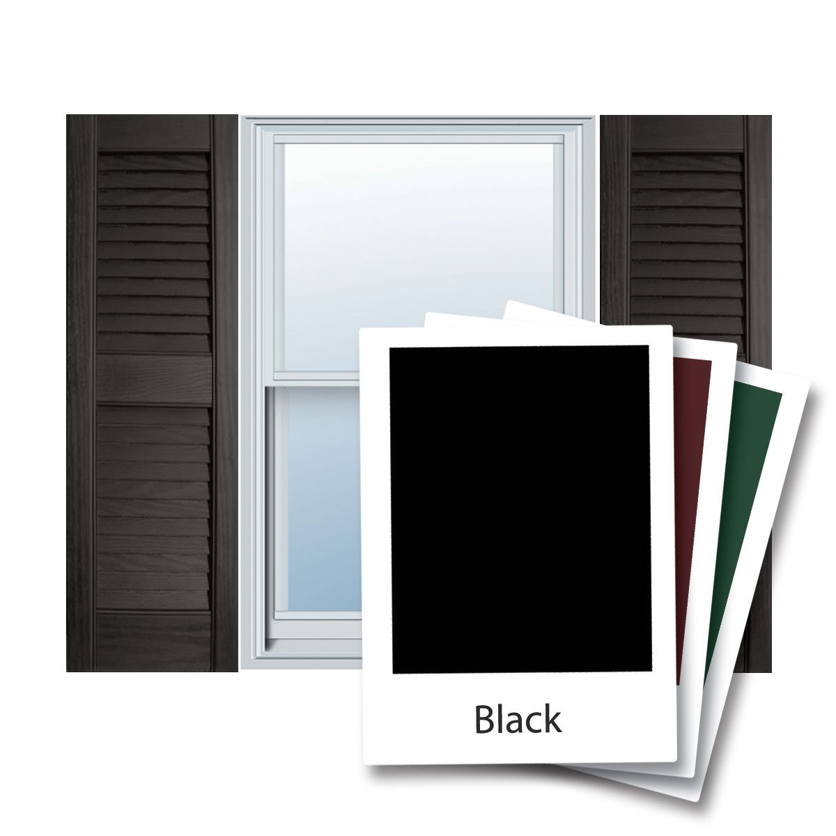 12'' x 63'' Builders Choice Vinyl Open Louver Window Shutters, w/Shutter Spikes & Screws (Per Pair), Black